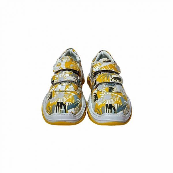 Кроссовки Pаnda желтые на липучках и с необычным принтом