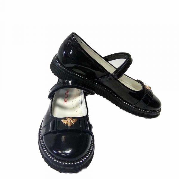 Туфли Pretty Girl черные лаковые для девочки с бижутерией