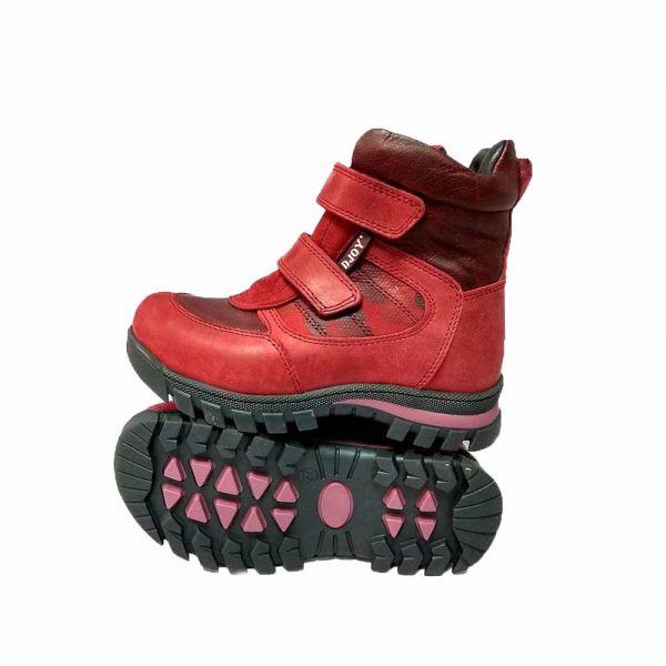 Ботинки Djoy красные  на двух липучках