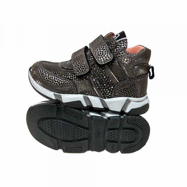 Ботинки Tіflani серые усыпаны стразами на липучках