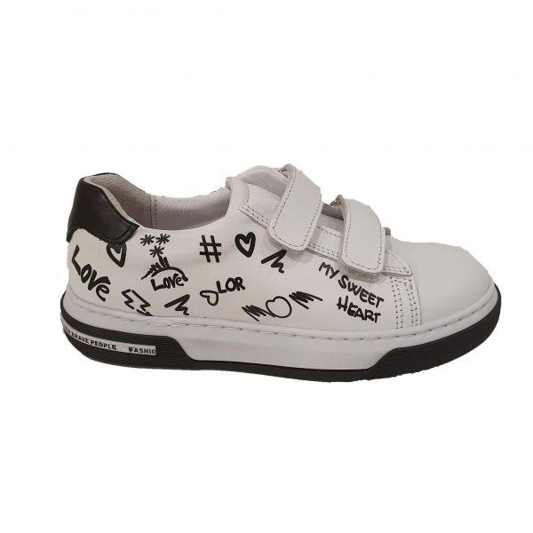 Кроссовки  PANDA белые с принтом