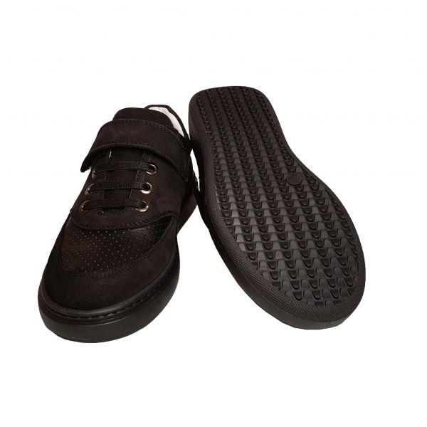Кроссовки Tunel черные кожаные с нубуковыми вставками (110)