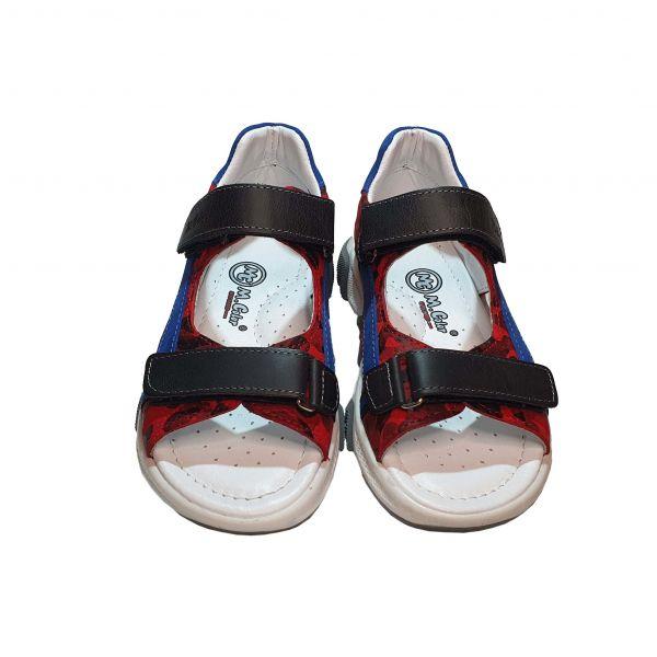 Сандалии Minicolor красные с голубыми вставками (115)