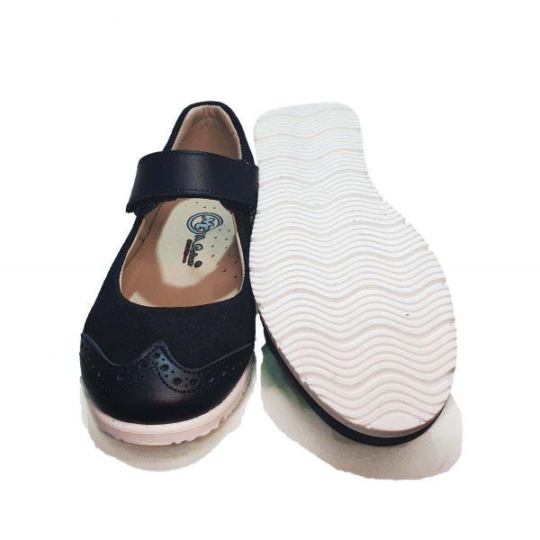 Туфли  Minicolor темно- синие на белой подошве