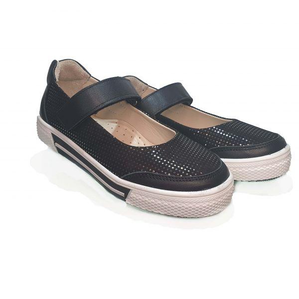 Туфли  Minicolor черные с кожаными вставками