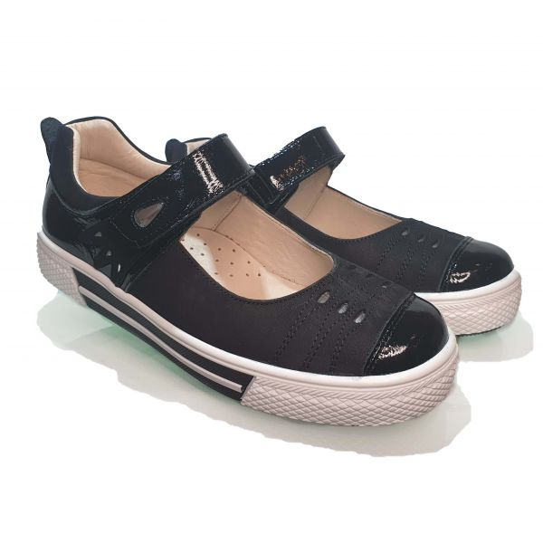 Туфли  Minicolor черные с лакироваными вставками