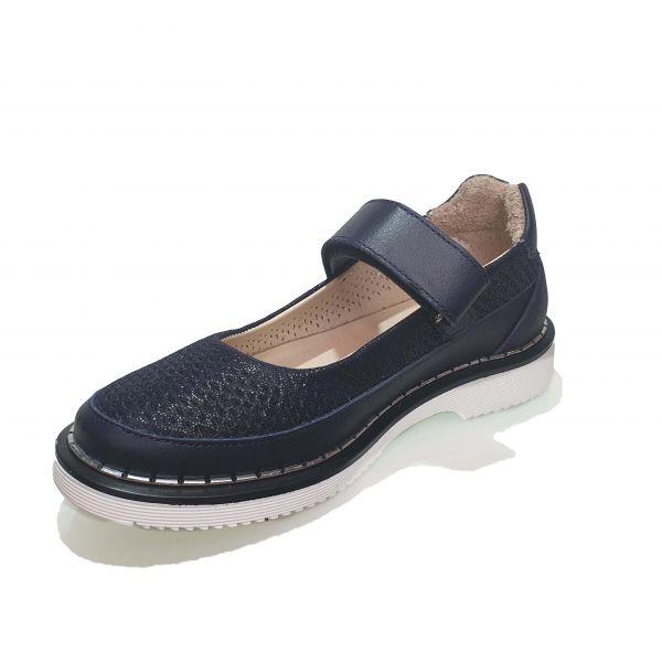 Туфли  Minicolor темно-синие с сквозной перфорацией