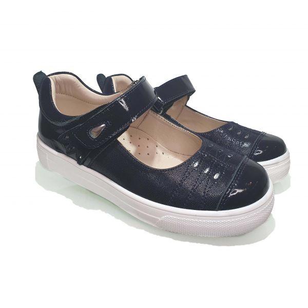 Туфли  Minicolor темно-синие с лакироваными вставками
