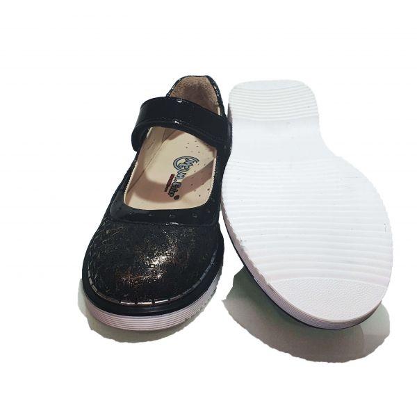 Туфли  Minicolor черно-золотистые с лазерным напылением