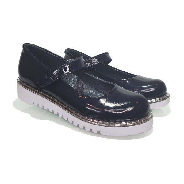 Туфли Tomini темно-синие лакированная кожа