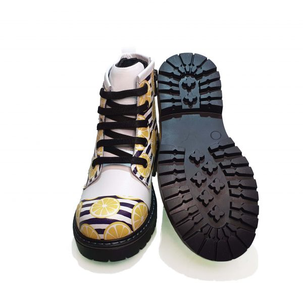 Ботинки  Minicolor белые с лимонным принтом 112236