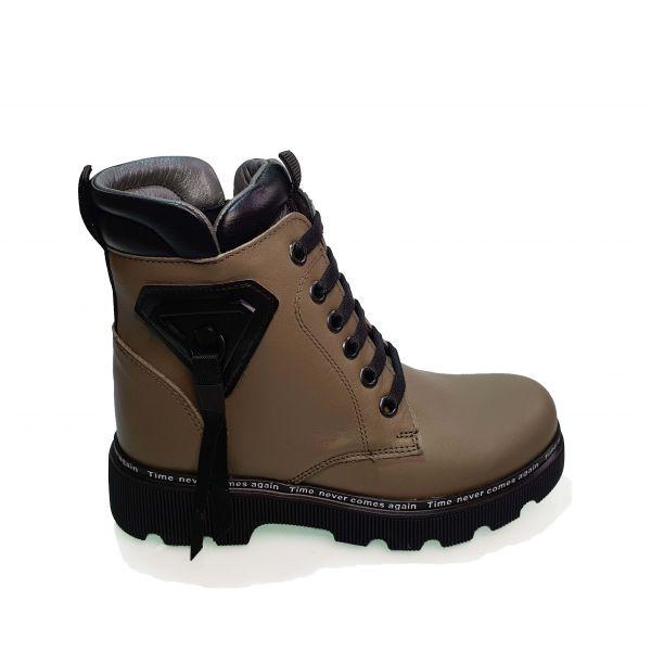 Ботинки  Minicolor оливковые с подвеской 262407