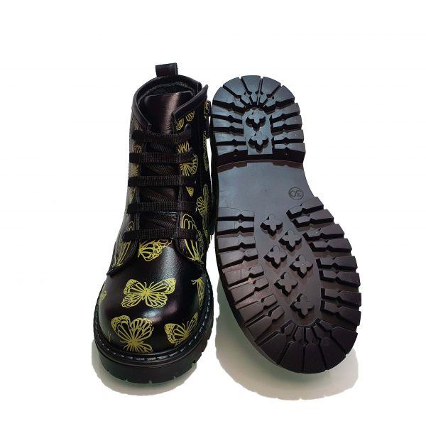 Ботинки  Minicolor черные с бабочками 112239
