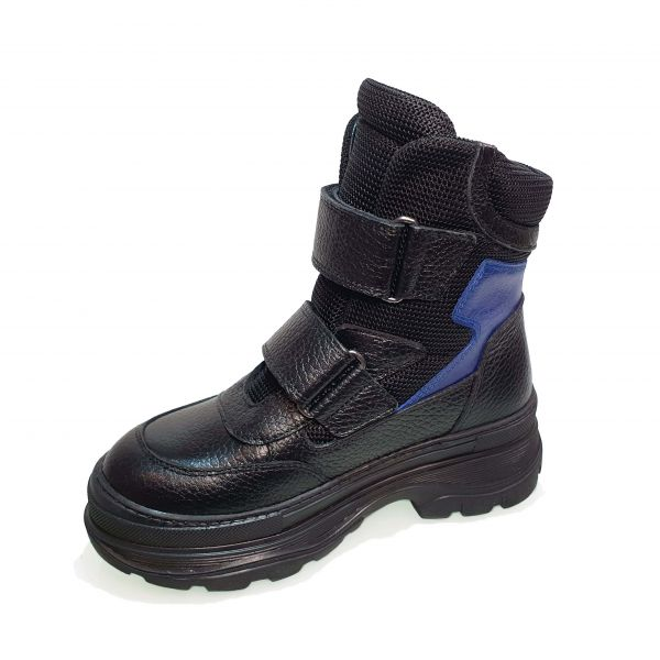 Ботинки Tunel черные с синими вставками 23-1010-01