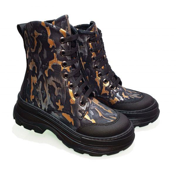 Ботинки Tunel серые с золотыми вставками 23-50-01