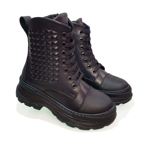 Ботинки Tunel черные с шипами 23-56-13