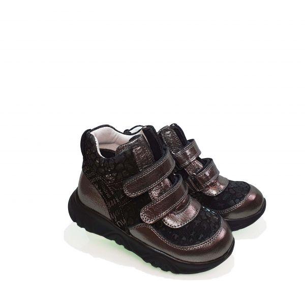 Ботинки Panda серые на черной подошве 001.0001 В