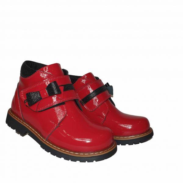 Ботинки Panda красные с широкой  липучкой