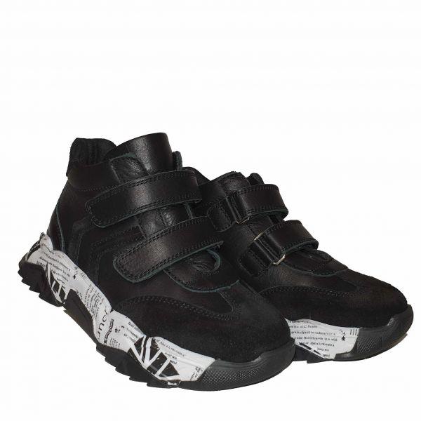 Ботинки Panda черные на высокой подошве с липучкой