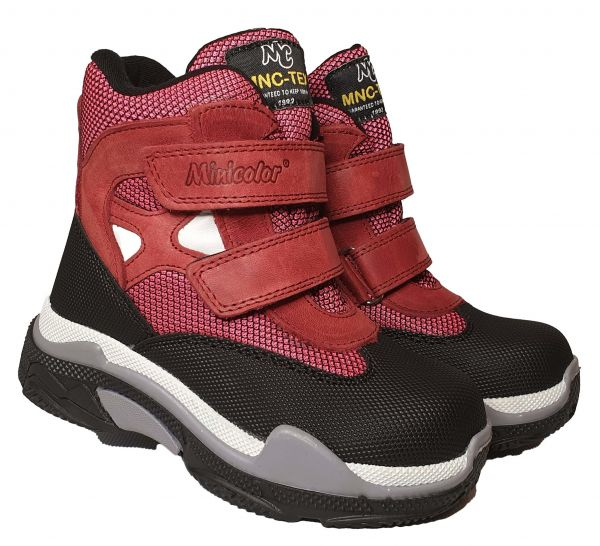 Ботинки Minicolor Бордовые осень/зима на липучках