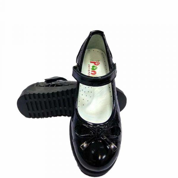 Туфли Panda школьные для девочки черные лаковые текстура