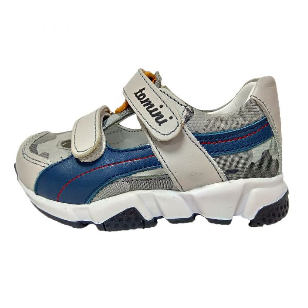 Кроссовки Tomini серые с синими полосками открытые