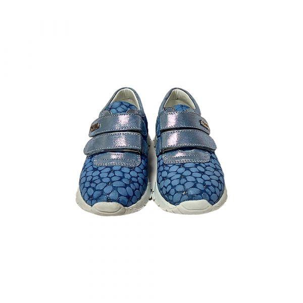 Кроссовки Panda голубые с цветочным оттиском