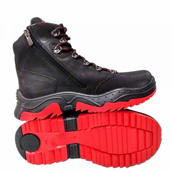 Ботинки  Panda красно-черные на шнуровке 39.2