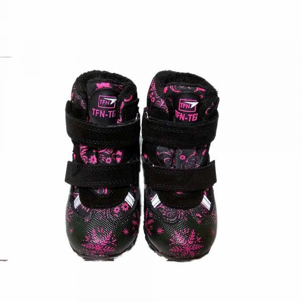 Ботинки Tifiani черные с малиновым принтом-снежинками