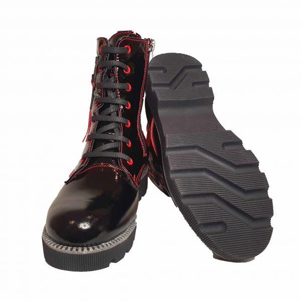 Ботинки Panda Черные лаковые меховые 011.2072-1