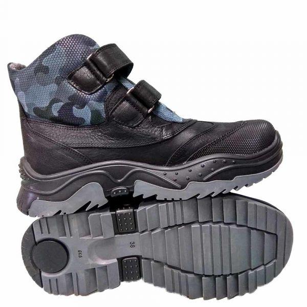 Ботинки  Panda серо-черные на липучке кожаные 42.1