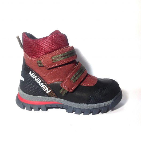 Ботинки Minimen бордовые на двух липучках